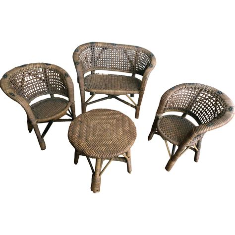 doll furniture vintage painted wicker doll furniture 4 pc large set
