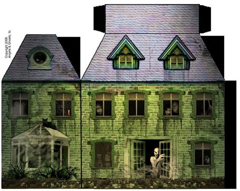 printable haunted house paper haunted house paper model