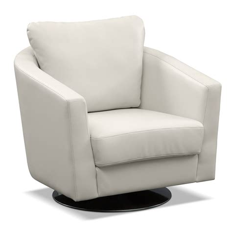 chairs for livingroom white leather swivel arm chair with back also circle silver steel base placed on the white floor