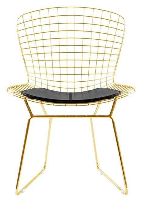 Bertoia Wire Side Chair In Gold Finish Home and Office Furniture Free Shipping
