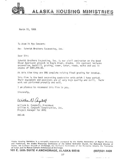 Reference Letter For Contractor Work William Cbell Schmidt Construction