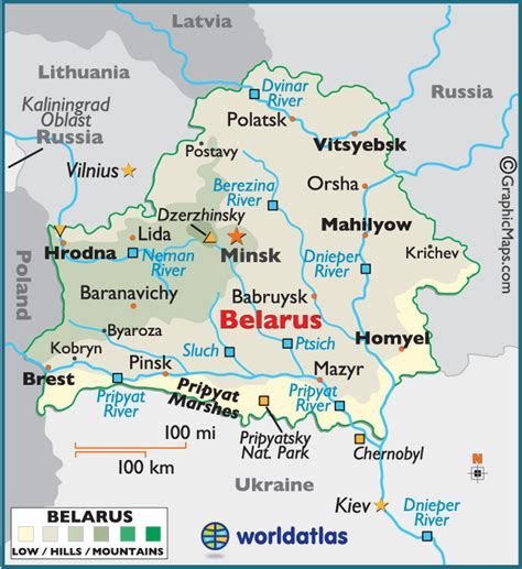 5 themes of geography ukraine belarus large color map