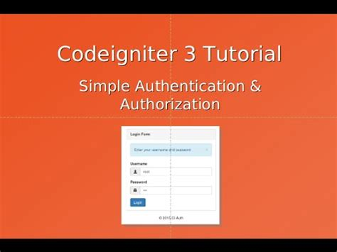 tutorial codeigniter 3 español codeigniter 3 tutorial authentication authorization
