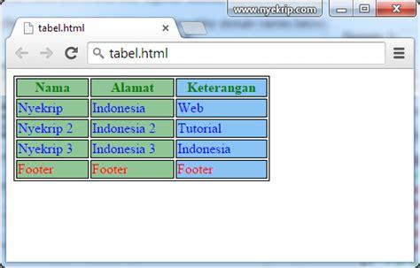 membuat tabel html css cara membuat tabel html 5 dengan css nyekrip