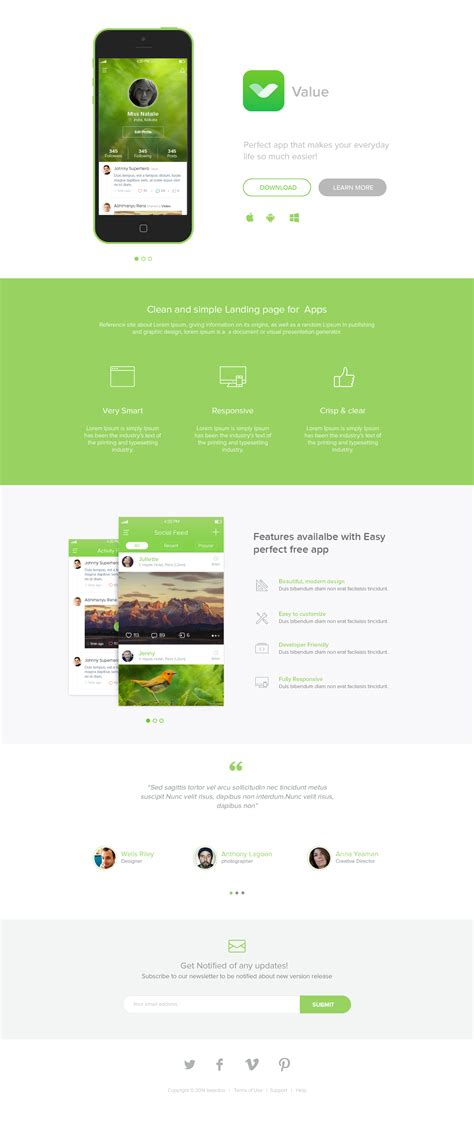 download free app landing page freebie psd template