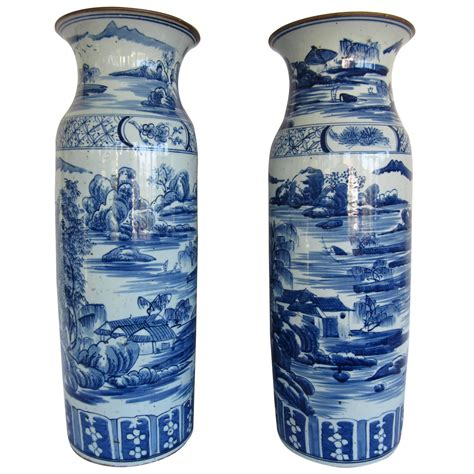 Large White Vases For Sale by Large Pair Of Blue And White Vases For Sale At 1stdibs