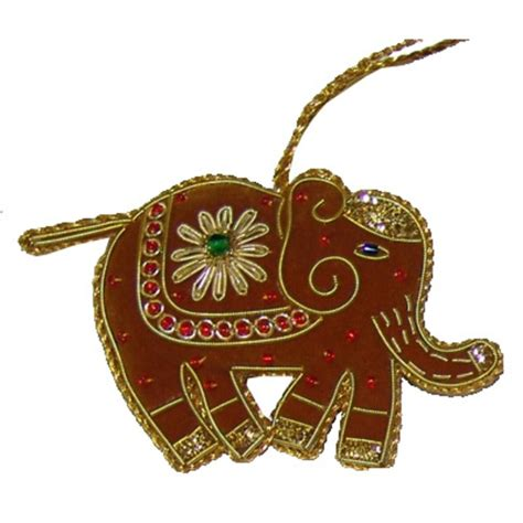 red elephant christmas decoration with zari embriodery