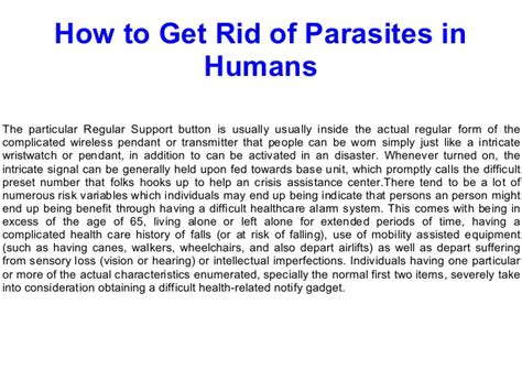 how to get rid of parasites in humans