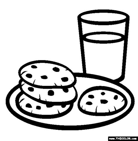 what color is the cookie milk and cookies coloring page