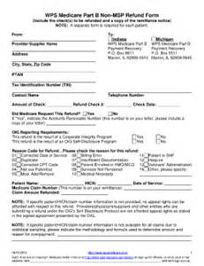 What Is The Cost Of Medicare Part A by Medicare Part B Non Msp Refund Form Fill Online