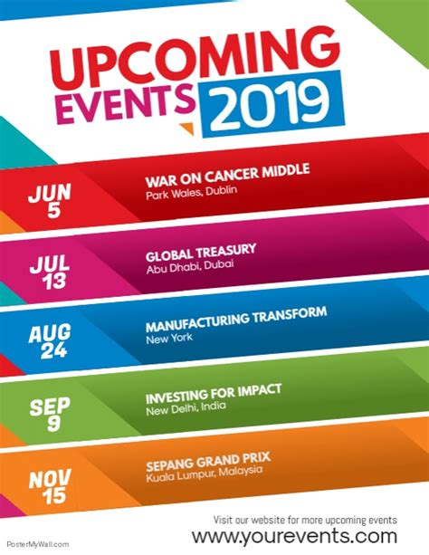 Upcoming Events Announcement Flyer Poster Template Postermywall Upcoming Events Flyer Template