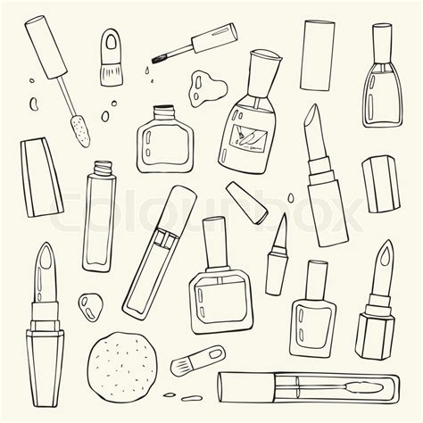 doodle how to set up makeup products set cosmetics vector
