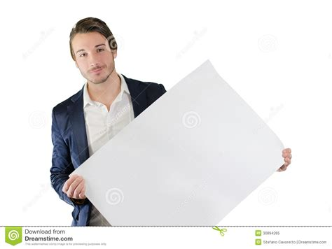 man holding young man holding a white board isolated royalty free