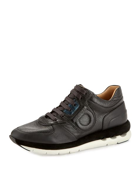 ferragamo sneaker ferragamo pebbled leather sneaker in black nero