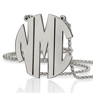 sterling silver monogram jewelry sterling silver block initial monogram necklace bestmonogramnecklace