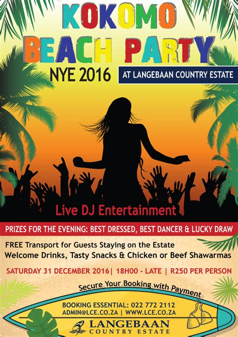 where to go new years new years kokomo langebaan country estate