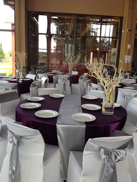 silver eggplant purple wedding decor silver themed