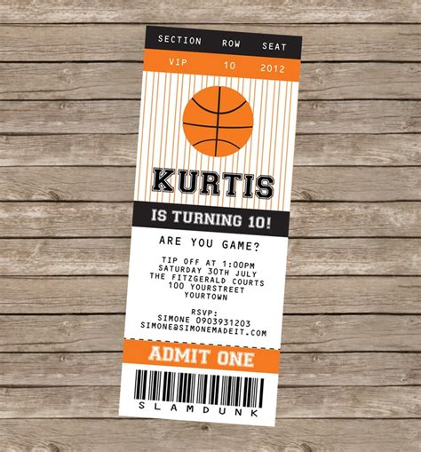 Basketball Ticket Template Free basketball printables invitations decorations