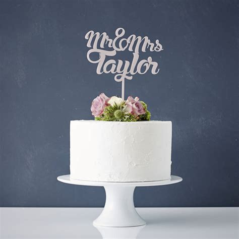 Mr Smith 002 Navy personalised mr and mrs wedding cake topper by
