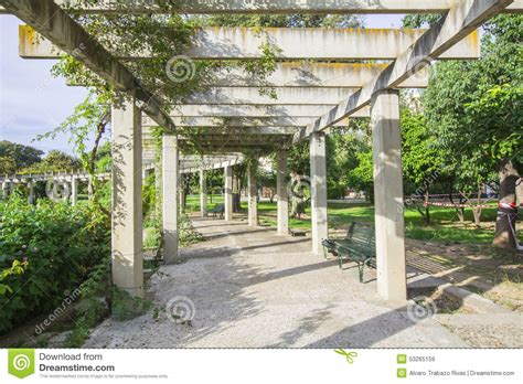 large pergola designs large pergola with hanging creepers in a park stock image