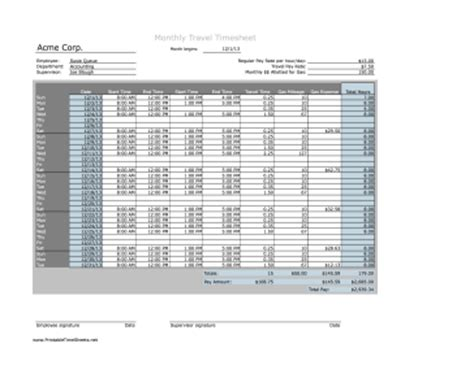 monthly timesheet with mileage printable time sheet