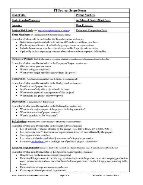 project scope document template project scope template cyberuse