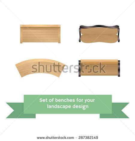 bench plan view set of vector wooden benches collection for landscaping