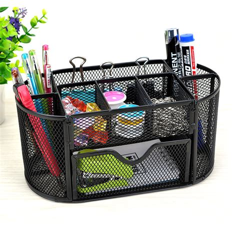 pen organizer 9 storage multi functional mesh metal desk organizer pen