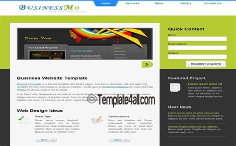 jquery html templates green gray business css template