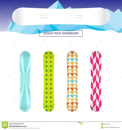 snowboard design template snowboard banner template stock vector image 63173212