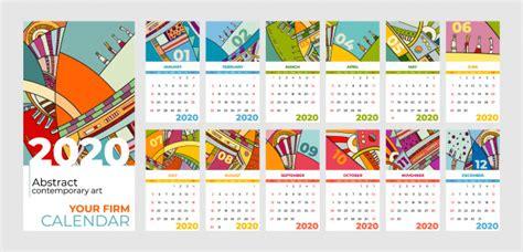kalender abstracte hedendaagse kunst premium vector
