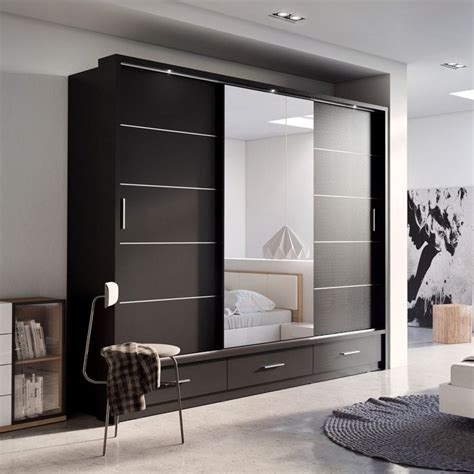 bedroom furniture wardrobes sliding doors home design sliding door wardrobe arti 1 with a mirror 250cm black