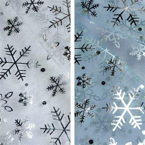 printable organza fabric plain christmas organza fabric with snowflakes foil print
