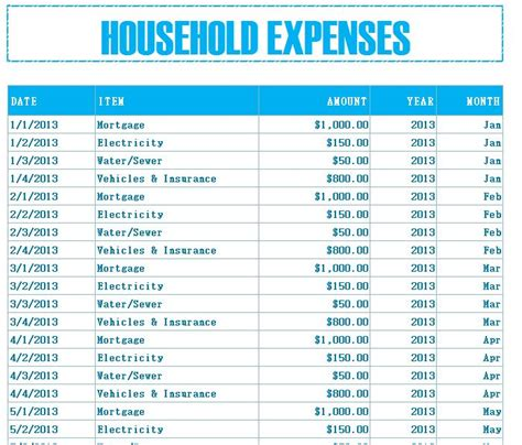 home expense budget template household budget expenses my excel templates