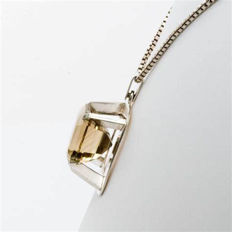 scandinavian birger lindgren silver pendant with citron