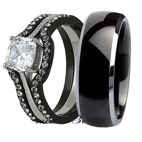 his tungsten 4 black stainless steel wedding