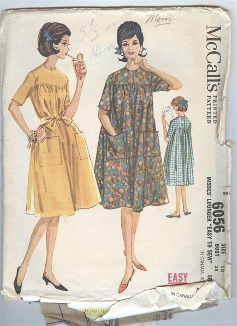 pattern for house dress 1960s house dress pattern vintage mccalls sewing pattern 6056