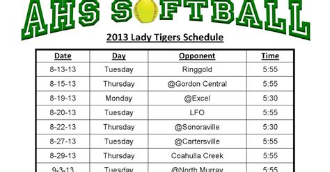 softball schedule template ahs softball tigers schedule for 2013