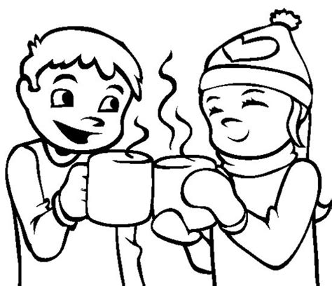 snow coloring pages dog and kid in winter grig3 org coloring pages winter hot chocolate winter coloring
