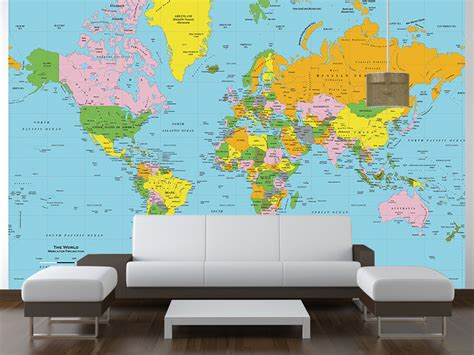 Classic World Map Wallpaper Wall - classic colors world political map wall mural mercator