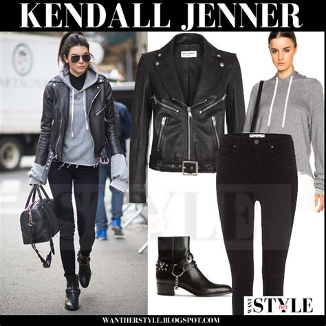 S W A T Leather Grey kendall jenner in black leather jacket and grey hooded