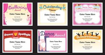 dance certificate templates dancing award certificates