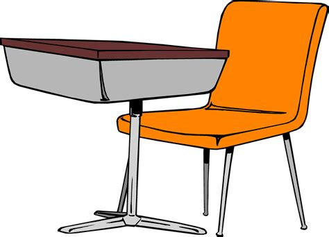 Desk Free Stock Photo Illustration Of A Student Desk Student Desk And Chair