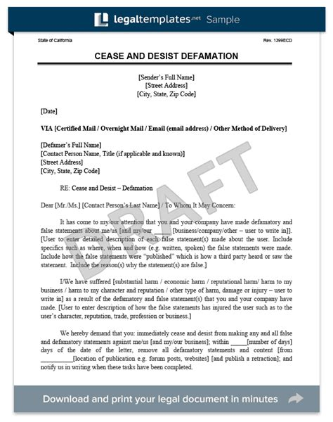 cease and desist letter template defamation cease and desist letter c d create a cease desist template