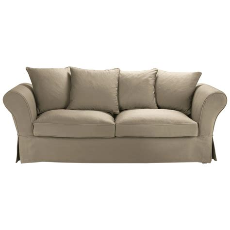 Green Design Organic Cotton 3 4 Seater Sofa In Taupe Roma