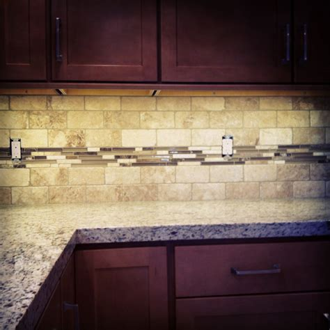 Home Decorators Cabinetry by Travertine Glass Backsplash