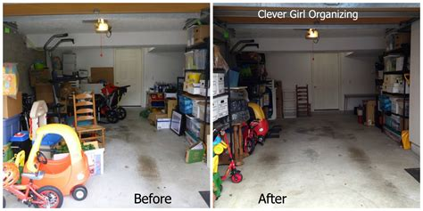 garage cleaning and organizing before and after major garage clean out