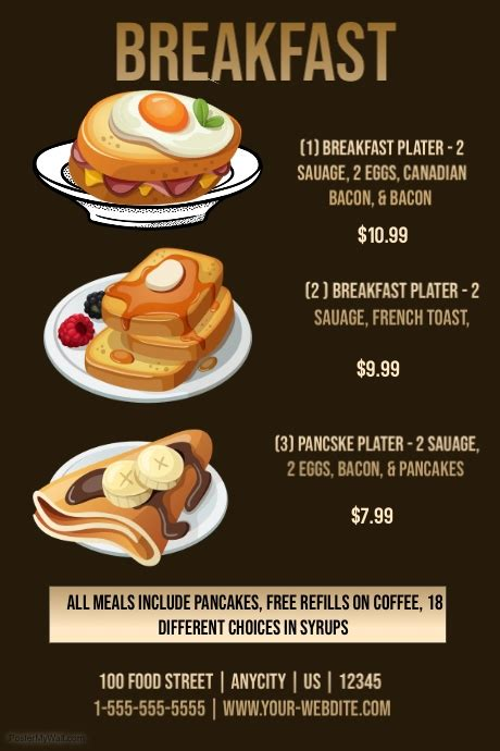 Restuarant Breakfast Menu Template Postermywall Menu Poster Template Free