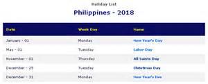 Calendar 2018 With Holidays Philippines Philippines 2018 Printable Calendar 171 Printable Hub