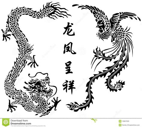 dragon and phoenix stock vector image of tradition